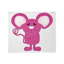 cute pink polka dot mouse Throw Blanket