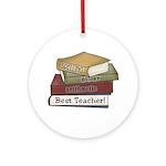 Stack of Books Teacher Ornament (Round)