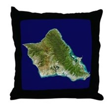 O`ahu from Landsat Throw Pillow