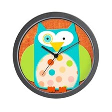 funny spotted owl Wall Clock