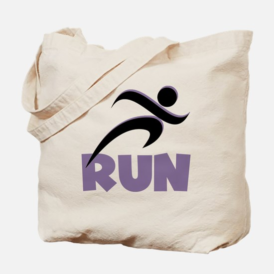 RUN in Purple Tote Bag
