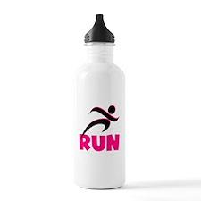 RUN in Pink Water Bottle