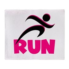 RUN in Pink Throw Blanket