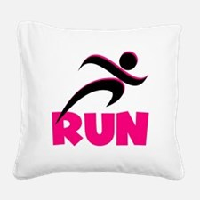 RUN in Pink Square Canvas Pillow