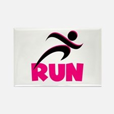 RUN in Pink Rectangle Magnet