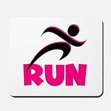 RUN in Pink Mousepad