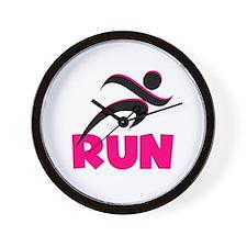 RUN in Pink Wall Clock