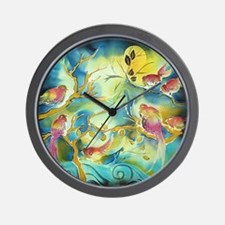 colorful birds beautiful forest Wall Clock