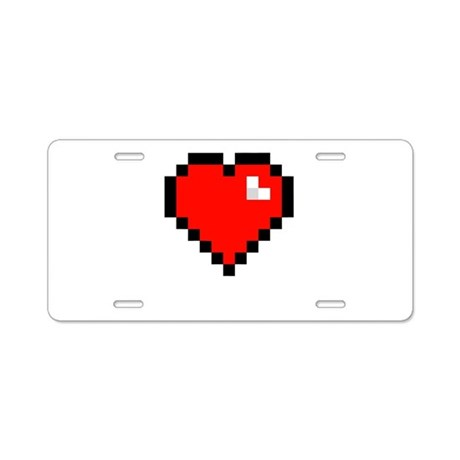 8-bit Pixel Heart Aluminum License Plate