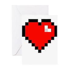 8-bit Pixel Heart Greeting Card