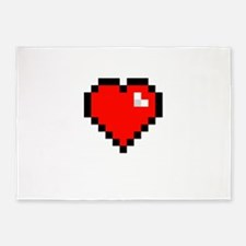 8-bit Pixel Heart 5'x7'Area Rug