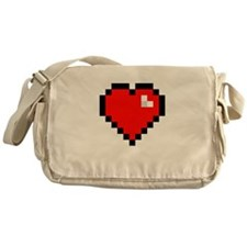 8-bit Pixel Heart Messenger Bag