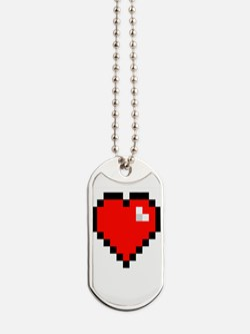 8-bit Pixel Heart Dog Tags
