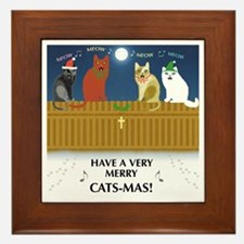 Merry Cats-Mas! Framed Tile