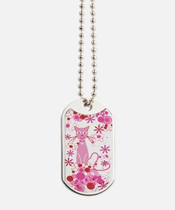 Fancy Pink Cat Dog Tags