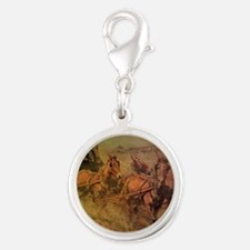 Stage Coach by John Borein Silver Round Charm