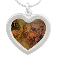 Stage Coach by John Borein Silver Heart Necklace