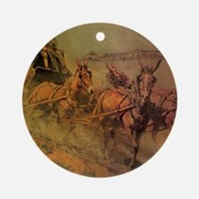 Stage Coach by John Borein Round Ornament
