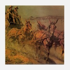 Stage Coach by John Borein Tile Coaster