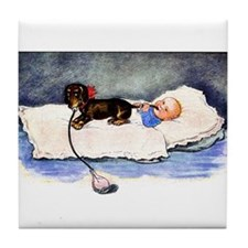 Baby's best buddy - Dachshund Tile Coaster