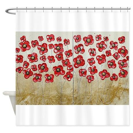 Red Poppy Bliss Shower Curtain by AmberElizabethArt