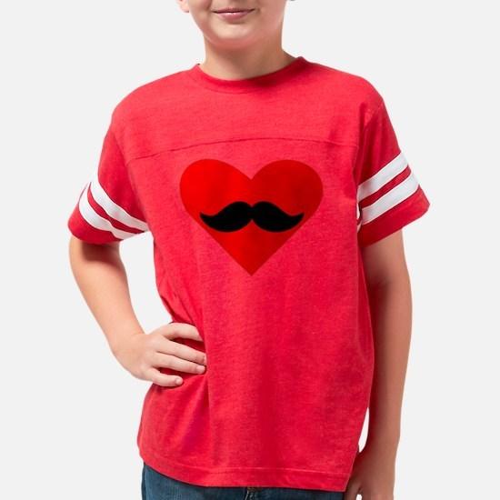 Mustache Heart Youth Football Shirt