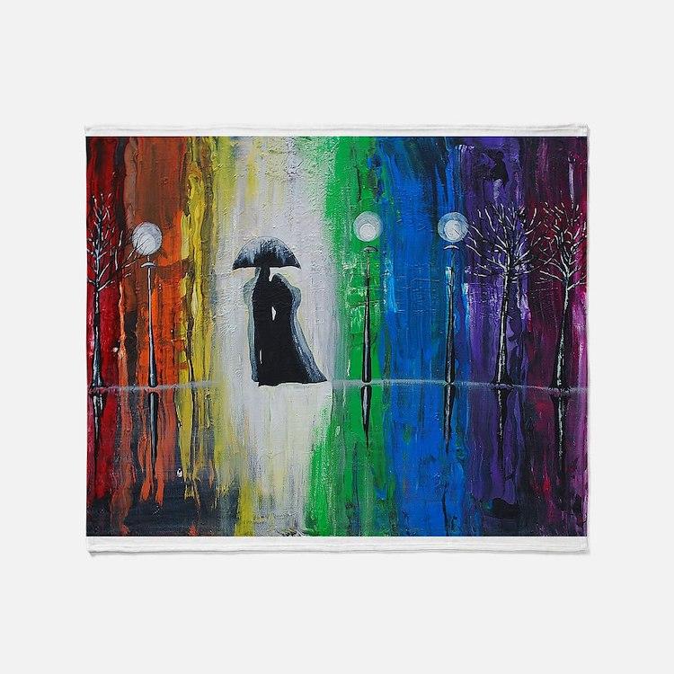 Prismatic Rain Romance Throw Blanket