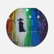 Prismatic Rain Romance Ornament (Round)