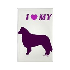 Border Collie Plum Rectangle Magnet