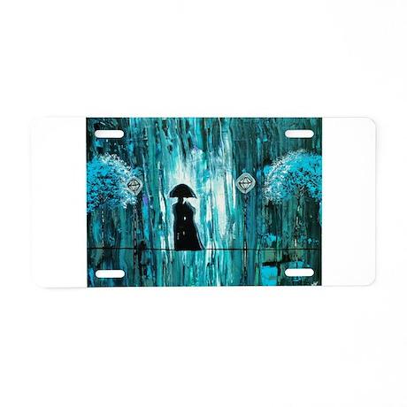 Love in the Teal Rain Aluminum License Plate