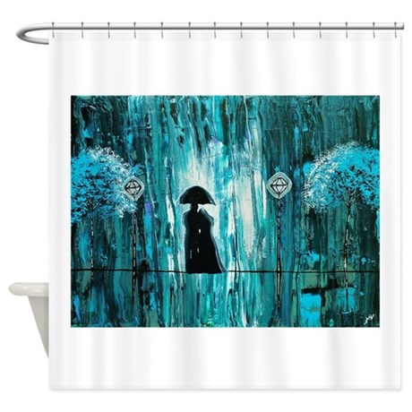 Love In The Teal Rain Shower Curtain By AmberElizabethArt