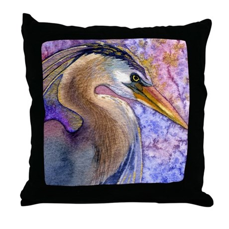 Great Blue Heron Watercolor Throw Pillow