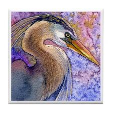 Great Blue Heron Watercolor Tile Coaster