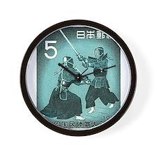 Vintage 1960 Japan Kendo Postage Stamp Wall Clock