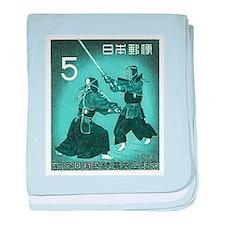 Vintage 1960 Japan Kendo Postage Stamp baby blanke