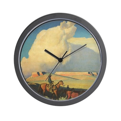 open range by maynard dixon wall clock by admin cp14940502. Black Bedroom Furniture Sets. Home Design Ideas