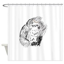 Drawing of a Chimpanzee Shower Curtain
