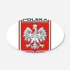 Polska Shield / Poland Shield Oval Car Magnet
