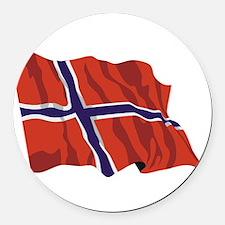 NORWAY-wavy.jpg Round Car Magnet