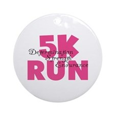 5K Run Pink Ornament (Round)