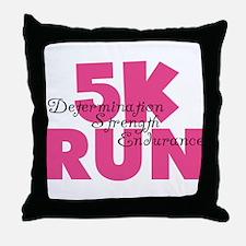 5K Run Pink Throw Pillow