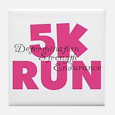 5K Run Pink Tile Coaster