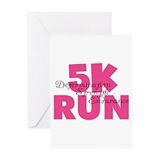 5K Run Pink Greeting Card