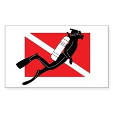 Male SCUBA Diver Rectangle Decal