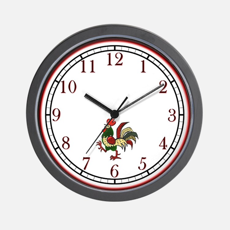 Red Rooster Wall Clock
