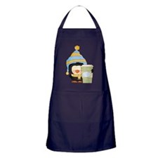 silly penguin with hot chocolate coco Apron (dark)