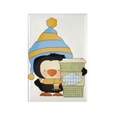silly penguin with hot chocolate  Rectangle Magnet