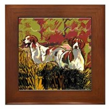 Brittany spaniels in the field Framed Tile