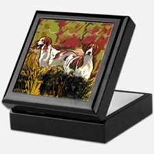 Brittany spaniels in the field Keepsake Box