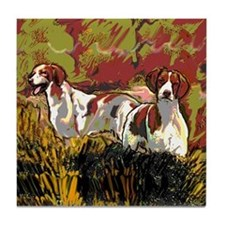 Brittany spaniels in the field Tile Coaster